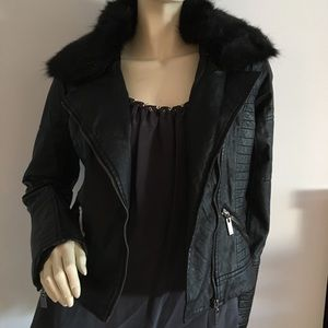 Jackets & Blazers - Faux leather moto jacket with faux fur collar
